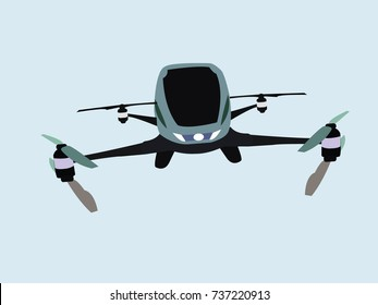 Drone taxi vector illustration. Flying drone.