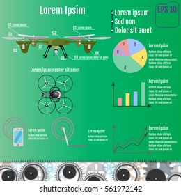 Drone technology design, vector illustration. Infographic concept