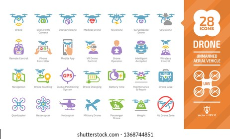 Drone unmanned aerial vehicle color glyph icon set with UAV digital technology, camera, delivery, military, passenger,  helicopter, quadcopter, hexacopter, remote control and operator sign.