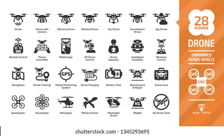Drone unmanned aerial vehicle glyph icon set with UAV digital technology, sky camera, military and delivery aircraft robots, helicopter, remote control silhouette symbols.