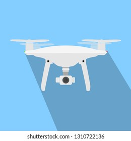 Drone with Vamera Vector Icon. UAV Drone Copter. Photo and Video Drone Icon Vector. Drone Copter Flying with Digital Camera. Unmanned Aerial Vehicle with High Resolution Digital Camera.