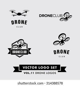 Drone Vector Logo Set. Quadcopter silhoette template.