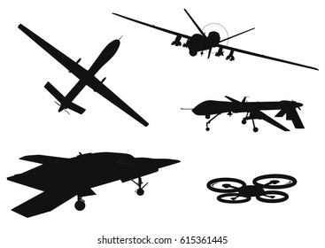 Drone vector silhouettes collection