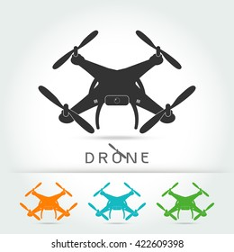 Drone with video camera isolated vector silhouette icon,on white background Vector illustration