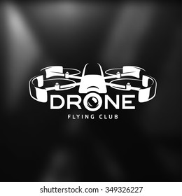 Drone vintage style label. Vector sticker. Flying club emblem.
