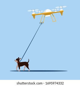 The drone walks the dog remotely. Technological future. How to walk with your pets while you are in quarantine or indoors. Flat editable vector illustration clip art