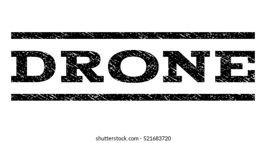 Drone watermark stamp. Text caption between horizontal parallel lines with grunge design style. Rubber seal black stamp with dust texture. Vector ink imprint on a white background.