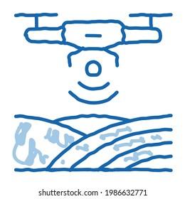 Drone Wi-Fi Signal sketch icon vector. Hand drawn blue doodle line art Drone Wi-Fi Signal sign. isolated symbol illustration