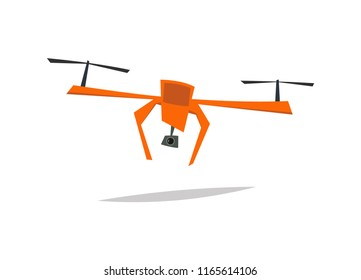 Drone.Cartoon vector illustration. Quad copter icon.Smart technology in action.