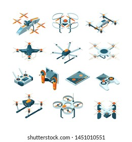Drones. Aircraft innovation aerial technique vector aviation pictures isometric. Innovation drone control, remote equipment flight illustration