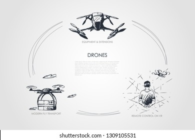 Drones - equipment and extensions, remote control on vr, modern fly transport vector concept set. Hand drawn sketch isolated illustration