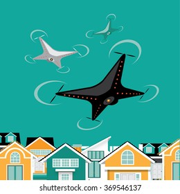 Drones hover over a neighborhood. EPS 10 vector.