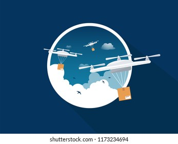 Drones icon. Copter or quadcopter with camera in cloudy sky. Vector flat illustration.