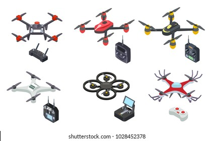 Drones isometric icons isolated on white background. Unmanned aircrafts drones with controllers vector illustration
