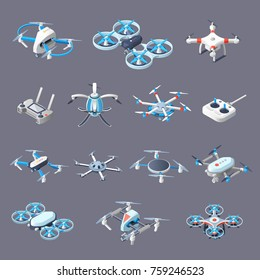 Drones isometric icons with unmanned aircrafts of different purpose with controllers isolated on grey background vector illustration.