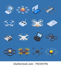 Drones isometric icons with unmanned aircrafts of different purposes, uav controllers on blue background isolated vector illustration