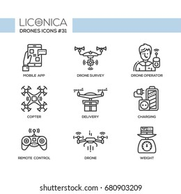 Drones - modern vector flat line design icons set. Mobile app, drone survey, operator, copter, delivery, charging, remote control, weight. Visual technology for more comfortable living.