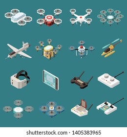 Drones quadrocopters isometric set of sixteen isolated objects with images of aircrafts and remote control units vector illustration