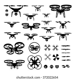 drones, vector illustration icons and logos set