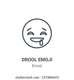 Drool emoji outline vector icon. Thin line black drool emoji icon, flat vector simple element illustration from editable emoji concept isolated on white background