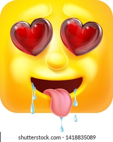 A drooling emoji or emoticon square face 3d icon cartoon character with hearts for eyes. In love or lust