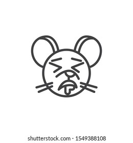 Drooling rat emoticon line icon. linear style sign for mobile concept and web design. Sleeping mouse face emoji outline vector icon. Chinese 2020 year of the rat  symbol, logo illustration.