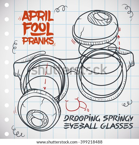 Drooping Springy Eyeball Glasses Draw Notebook Stock Vector Royalty