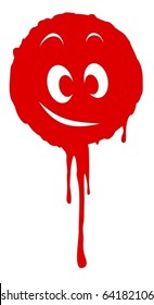 Drop of blood dripping and with a happy face in the center
