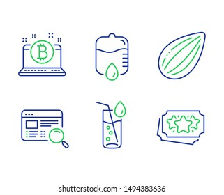 Drop counter, Bitcoin and Water glass line icons set. Website search, Almond nut and Loyalty points signs. Medical equipment, Cryptocurrency laptop, Soda drink. Find internet. Vector