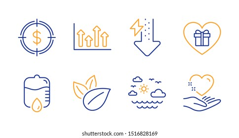 Drop counter, Energy drops and Dollar target line icons set. Upper arrows, Organic product and Travel sea signs. Romantic gift, Hold heart symbols. Medical equipment, Power usage. Vector