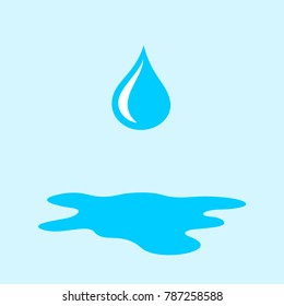 Drop and droplet is falling during rain. Puddle of water on the ground. Vector illustration