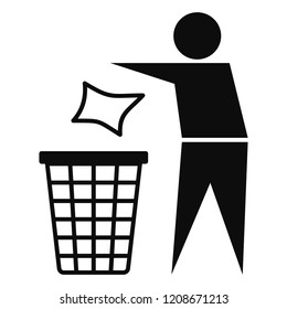Drop garbage bin icon. Simple illustration of drop garbage bin vector icon for web design isolated on white background