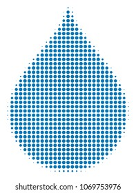 Drop halftone vector pictogram. Illustration style is dotted iconic Drop icon symbol on a white background. Halftone matrix is circle elements.
