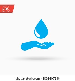 A drop and hand icon. Water protection and save nature symbol. Clean ecology environment sign. Aqua nature symbol. Eco care concept. Clean raindrop sign. Health drink label.