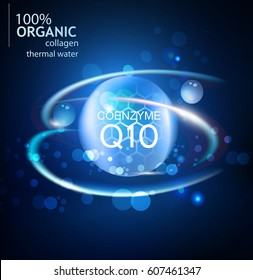 A drop of hyaluronic acid, an innovative formula. Vector space abstract packing template with light effects