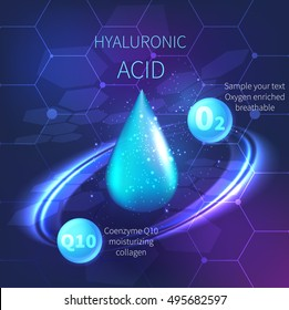 Drop of hyaluronic acid. Vector background cosmetics HUD element. Space design coenzyme q10 background.