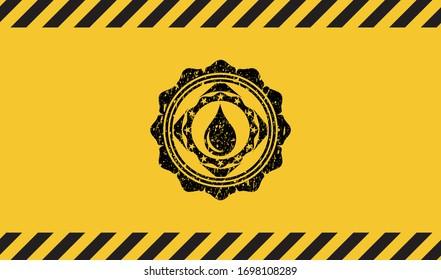 drop icon grunge warning sign emblem. Vector Illustration. Detailed.
