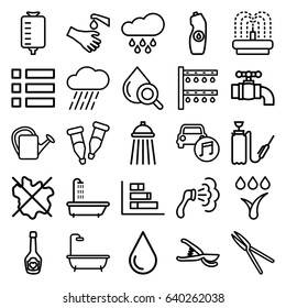 Drop icons set. set of 25 drop outline icons such as shower, no wash, water bottle, garden tools, watering can, irrigation system, rain, harden hose, fountain, hands washing