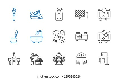 drop icons set. Collection of drop with shower, umbrella, hydrant, gas, champagne, soap, bathtub, rain, ink, drag, mortar, paint brush. Editable and scalable drop icons.