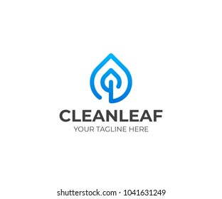 Drop and leaf line logo template. Water droplet and leaves vector design. Waterdrop illustration