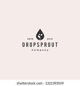 drop leaf sprout logo hipster retro vintage vector icon illustration