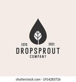 drop leaf sprout logo hipster retro vintage icon vector