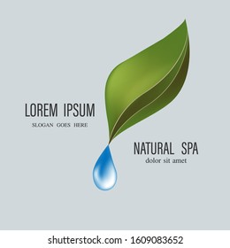 Drop with leaves logo. Aromatherapy logo.ikon with a drop of leaf essential oil. Aromatherapy, perfumes, cosmetics, Spa logo.