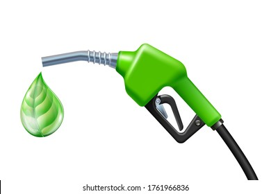 Drop like a green leaf dripping from Fuel handle pump nozzle with hose. Bio fuel icon. Green eco fuel pump. Petrol station sign. Ecological fuel concept. Vector illustration.