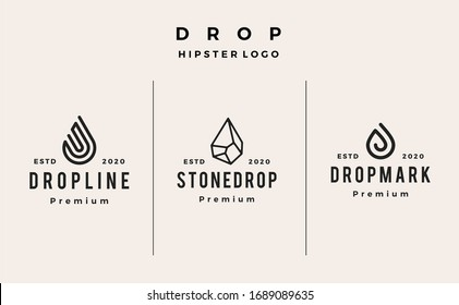 drop line stone logo vector icon hipster vintage retro illustration