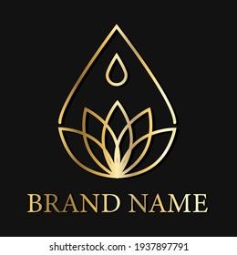 Drop Lotus Flower Creative Logo Design. Modern Idea logos designs Vector illustration template