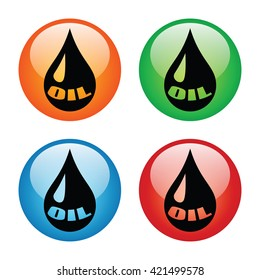 Drop of Oil Icon Glass Button Icon Set with Four Colors