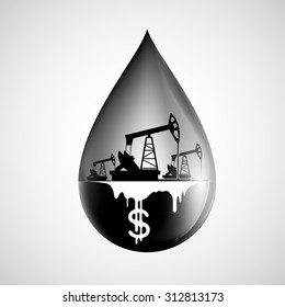 Drop of oil isolated on white background. Stock vector image.
