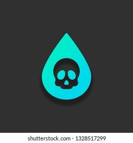 Drop of poison or acid with skull symbol. Icon of danger. Colorful logo concept with soft shadow on dark background. Icon color of azure ocean