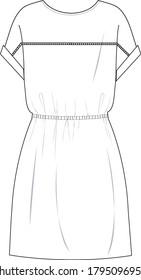 drop shoulder dress, waisted dress